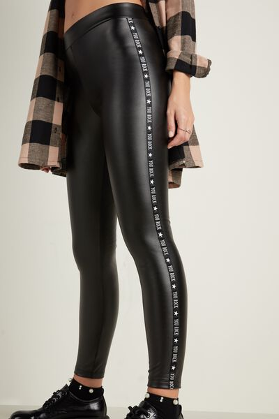 Lettering Faux Leather Thermal Leggings