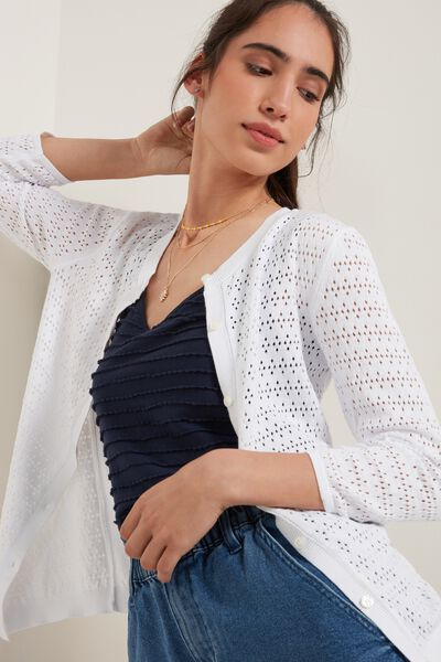 Perforated 3/4 Length Sleeve Cardigan with Buttons