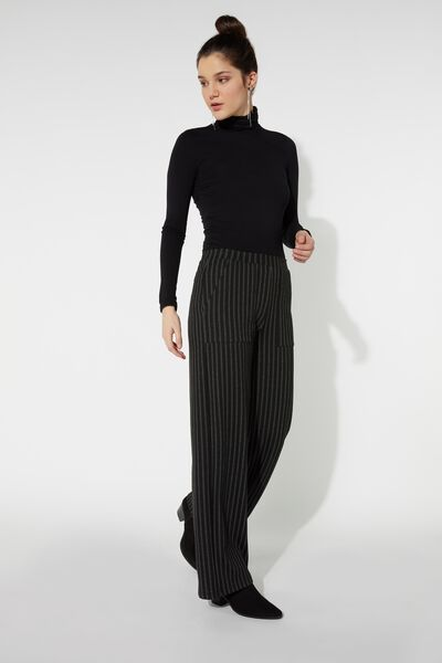 Milano-Stitch Palazzo Trousers with Pockets