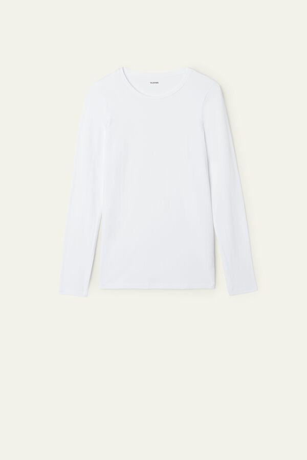 Long-Sleeve Crew-Neck Stretch-Cotton Top