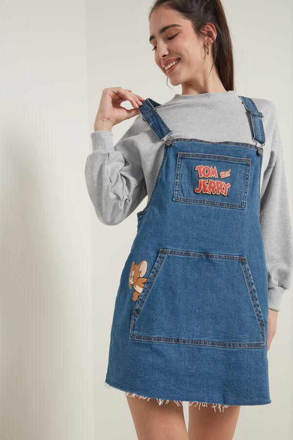 Denim Tom and Jerry Print Overall Skirt