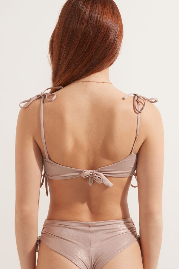 Shiny Nude Brassiere Bikini Top with Drawstrings