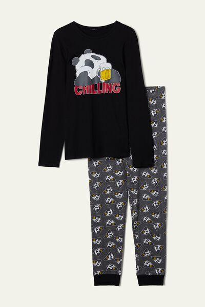 Men's Long Panda Print Pyjamas