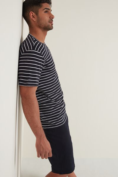 Men's Short Cotton Pyjamas with Stripe Print