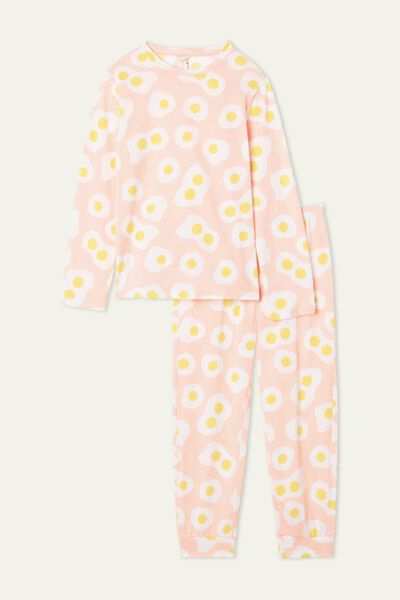 Pijama Comprido Menina Algodão Estampado Ovos