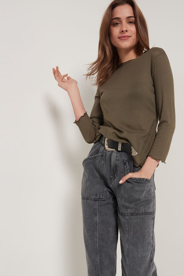 Ribbed Wide Round Neck Long-Sleeve Top