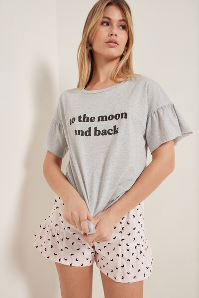 Short Cotton Lettering Print Ruched Pajamas