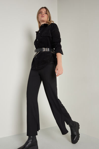 Milano Stitch Palazzo Trousers with Slits