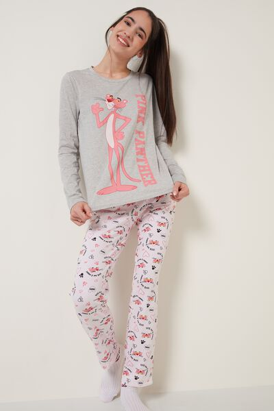 Pink/Grey Pink Panther Print Long Cotton Pyjamas