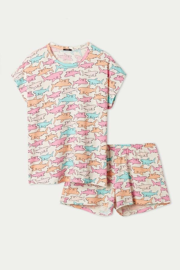 Shark Print Short Pyjamas with Kimono Sleeve