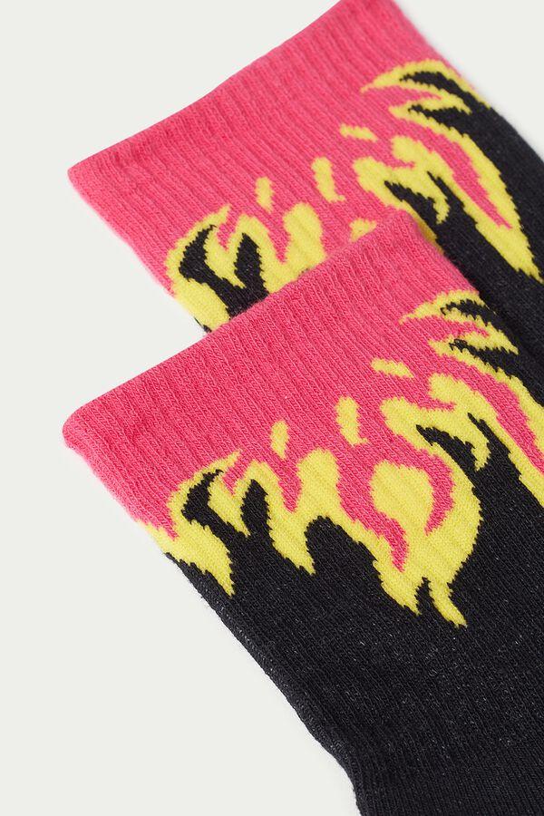 Patterned Cotton Sports Crew Socks