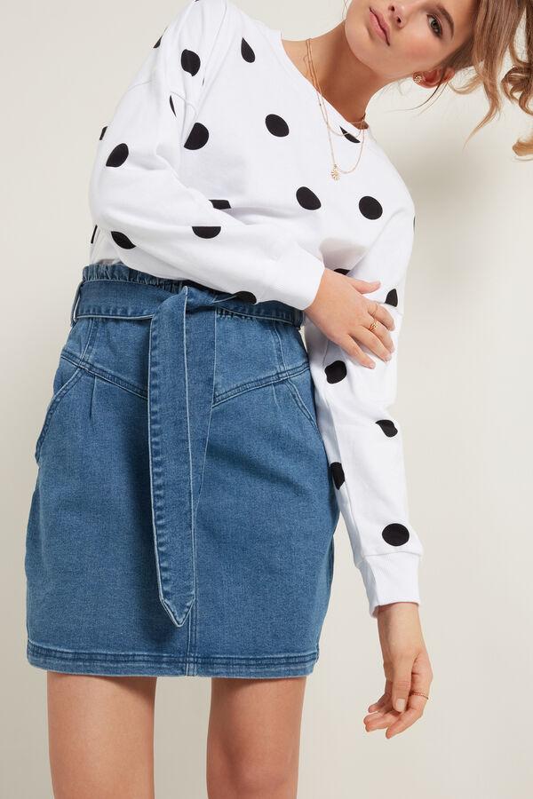Jupe Jean Brut Taille Haute avec Ceinture en Tissu