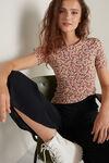 T-Shirt Girocollo in Cotone Elasticizzato Stampato