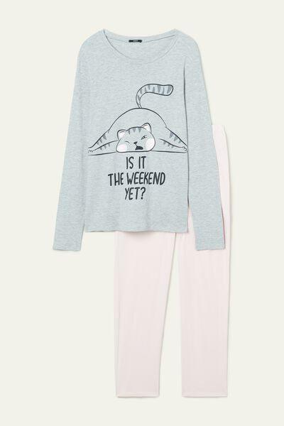 Weekend Print Long Cotton Pyjamas