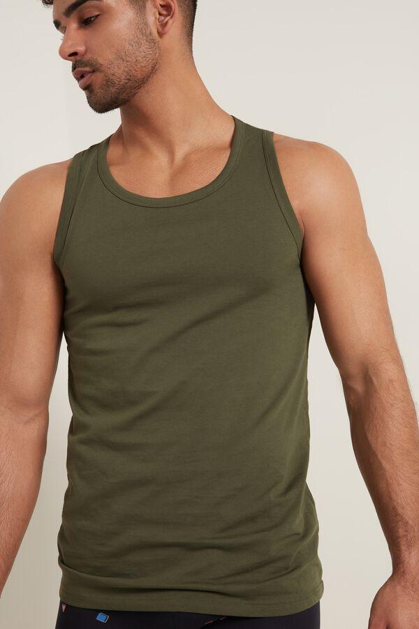 Wide Shoulder Cotton Tank-Top Undershirt