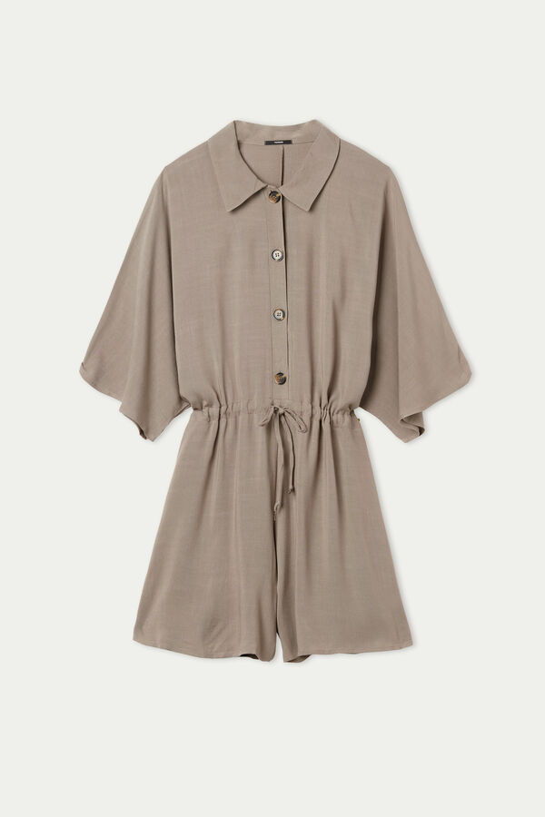 Short Playsuit with Buttons and Collar