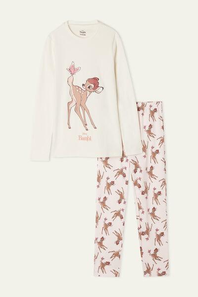 Girls' Pink/White Long Pyjamas with Disney Bambi Print
