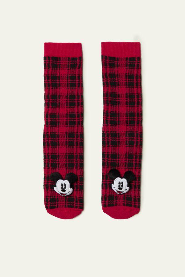 Mickey Mouse Plaid Non-Slip Socks