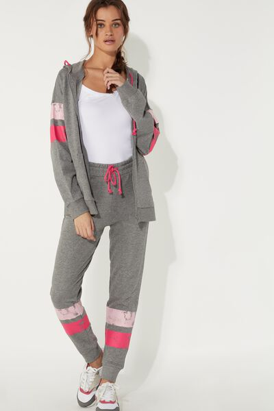 Fleece Jogger with Printed Bands