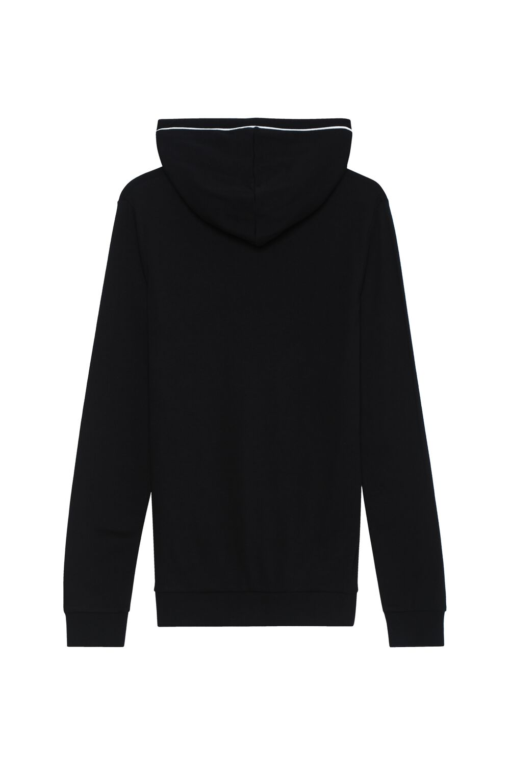Long-Sleeved Hooded Top With Zip and Piping Details