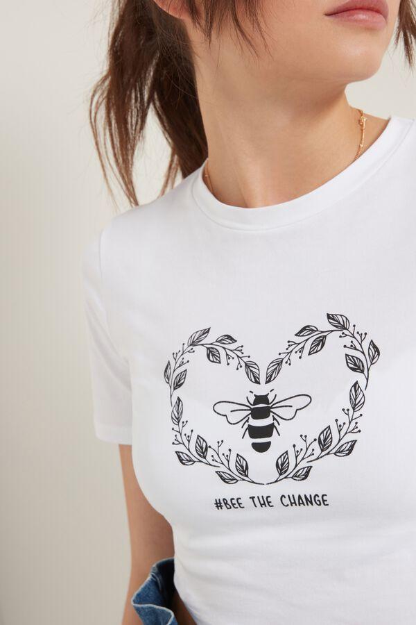 T-Shirt Corta Cotone Organico Stampa Ape