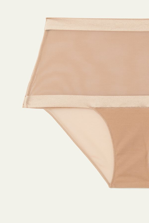 Invisible Mesh High-Waist Tulle Briefs
