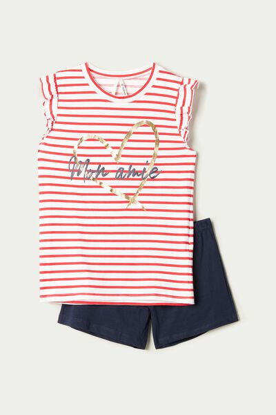 "Short Ruffled Pyjamas with ""mon amie"" Print"