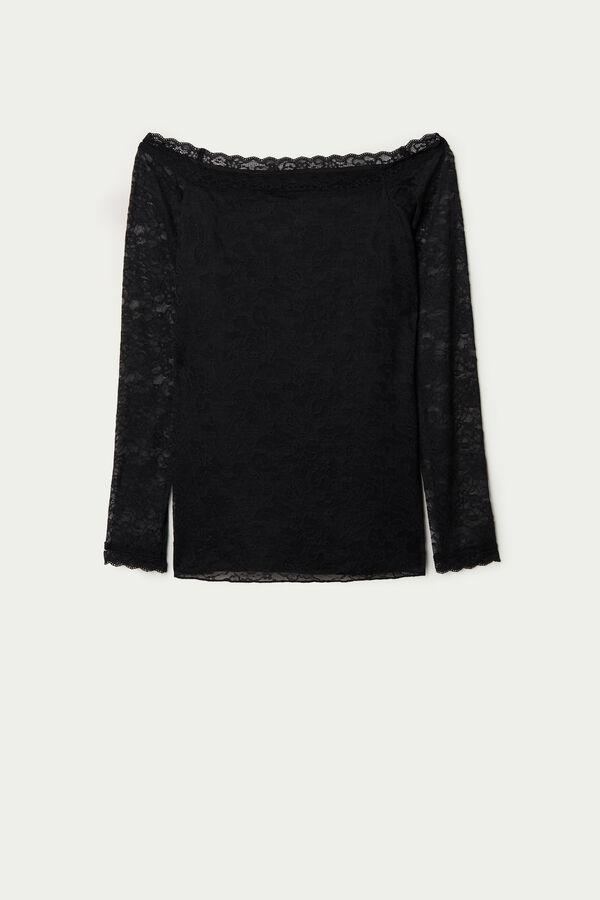 Off-The-Shoulder Lace Shirt