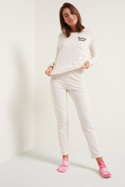 Micro Heart Print Long Cotton Pyjamas