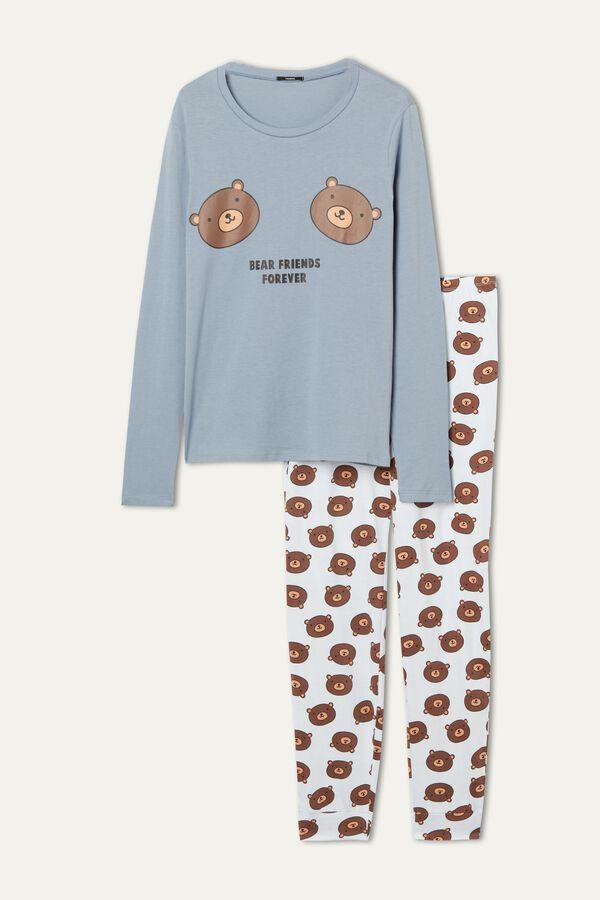Long Cotton Bear Print Pajamas