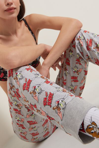 Pantalone Lungo in Felpa Stampa Tom and Jerry