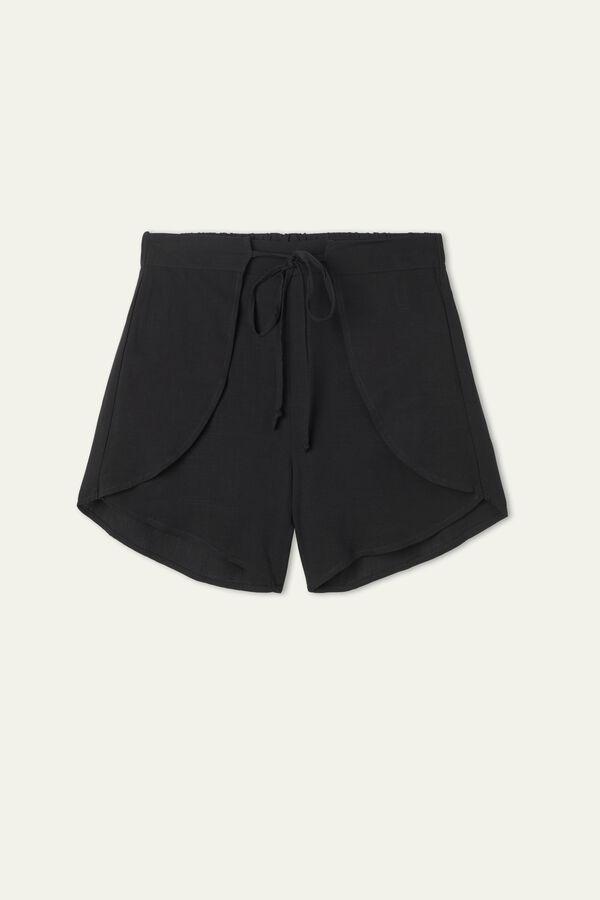 Brushed canvas Tulip-Cut Shorts