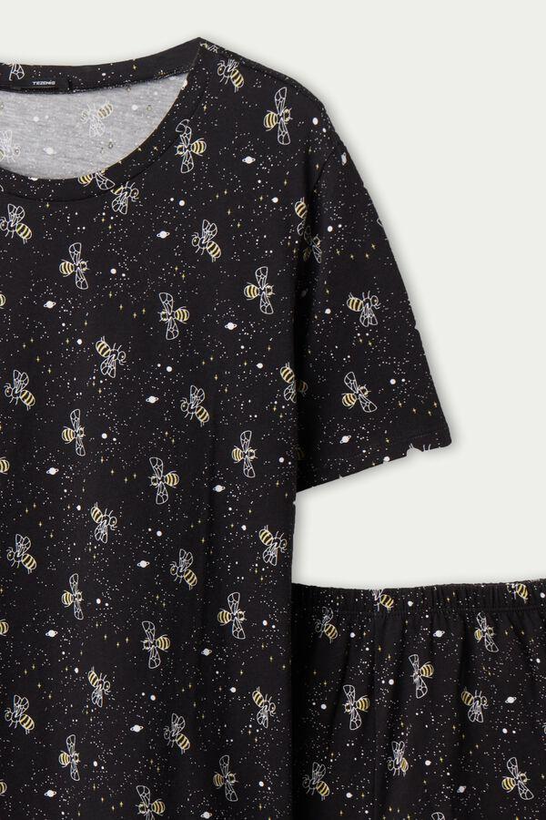 Krátke Pyžamo z Organickej Bavlny s Potlačou Včely