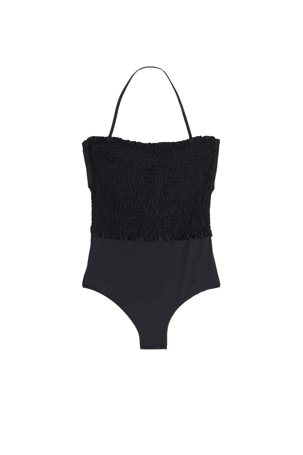 Plain-Coloured Smocked Bandeau One-Piece Swimsuit