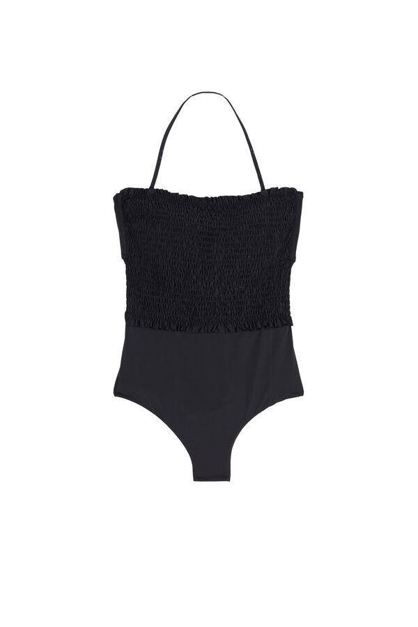 Plain-Coloured Smocked Bandeau One-Piece Swimsuit