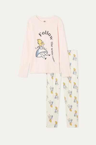 Pijama Largo de Algodón Grueso para Niña con Estampado Disney de Alicia Follow Me