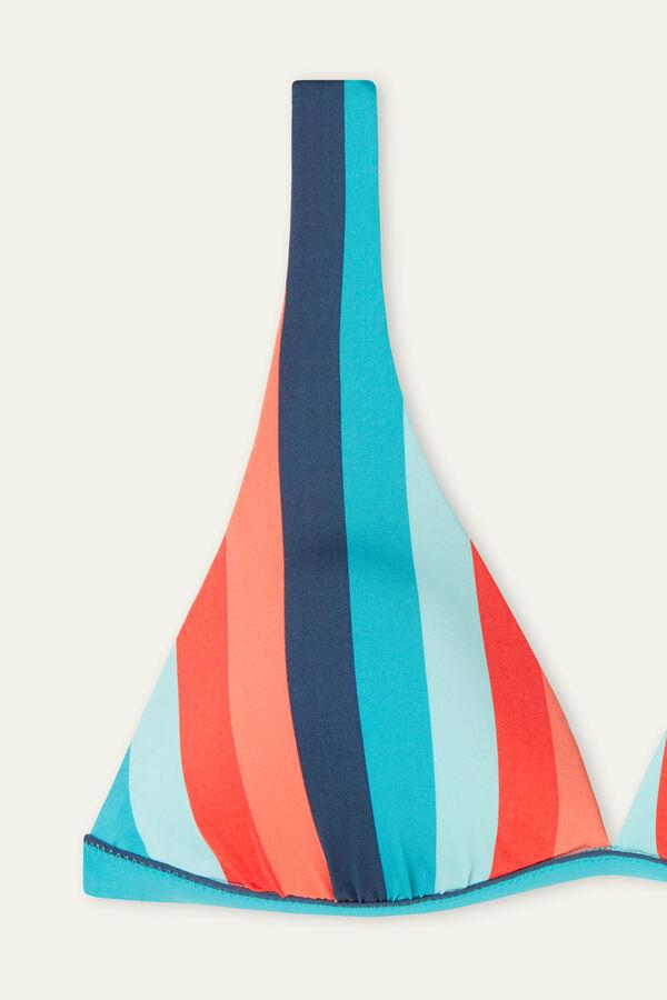Colourful Striped Wide Strap Triangle Bikini Top