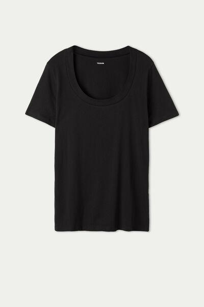Bavlnené Tričko so Širokým Okrúhlym Výstrihom