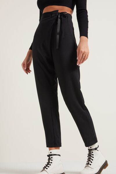 High-Waist Pants with Drawstring