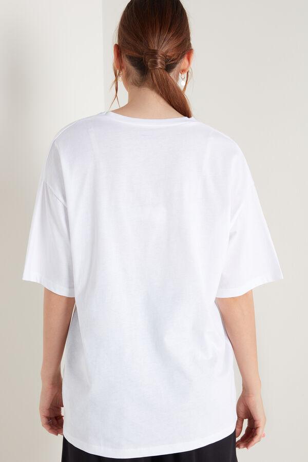 Oversized Cotton T-Shirt with V-Neck