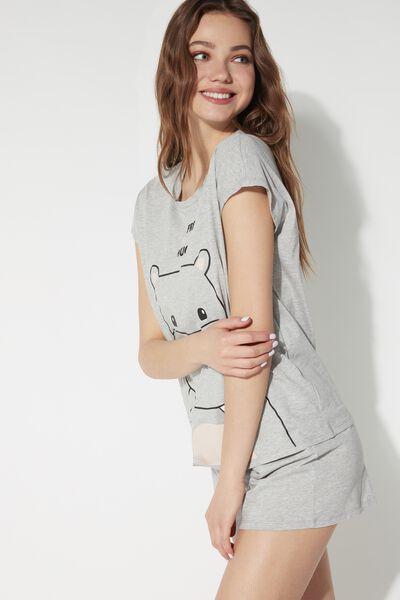 Pijama Curto Estampa Hipopótamo