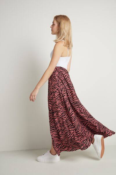 Long Viscose Skirt with Slit