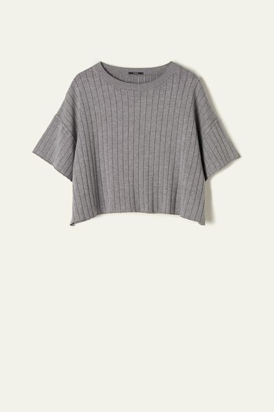 Half-Sleeve Crop Ribbed Shirt