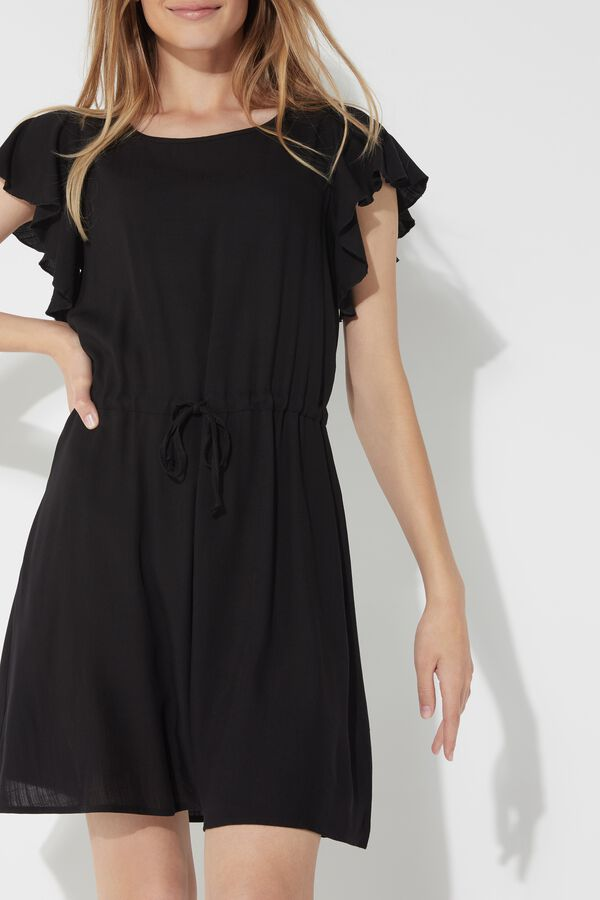 Short Fabric Dress with Ruffled Sleeves