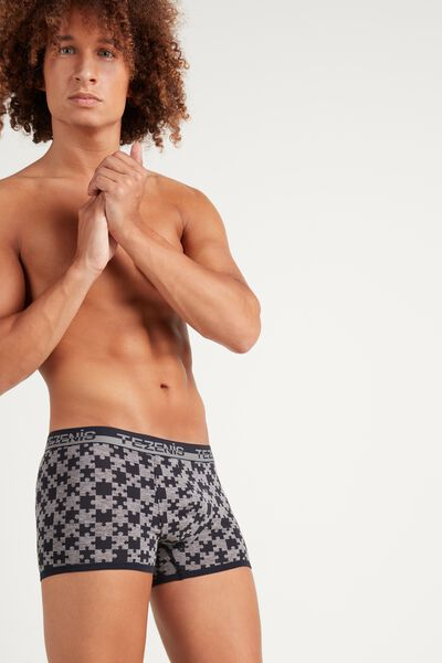 Printed Cotton Boxers with Logo Elastic Waistband