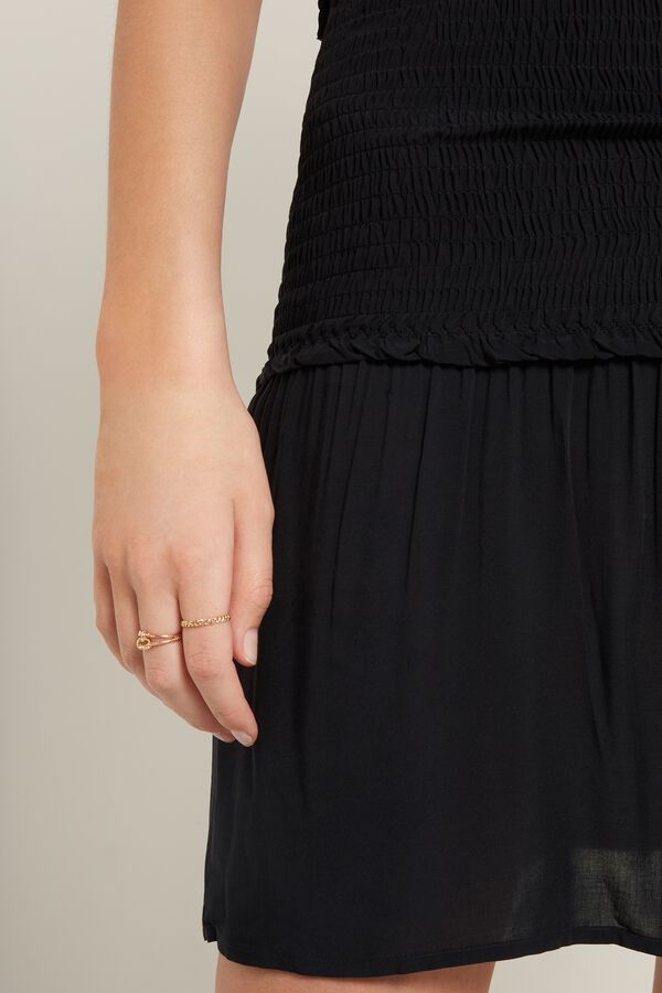 Stitched-Smock Canvas Skirt