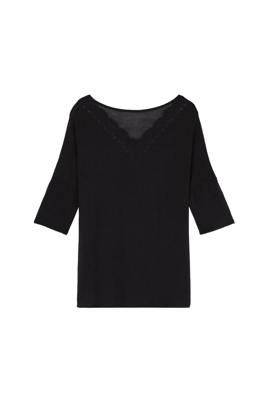 3/4 Length Sleeve Crêpe Knit Dress with Macramé Back