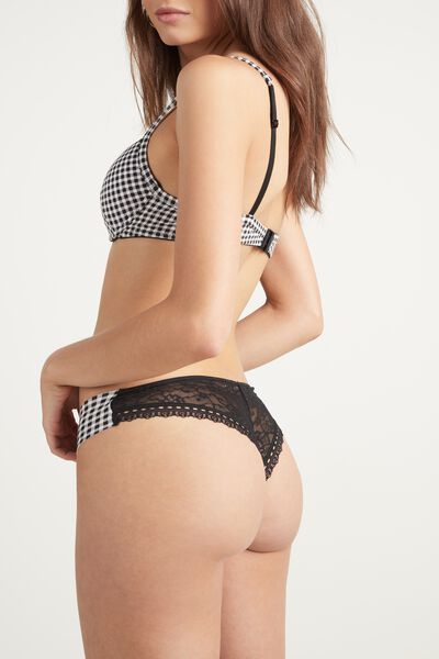 Laser-Cut Printed Lace and Cotton Brazilian Briefs