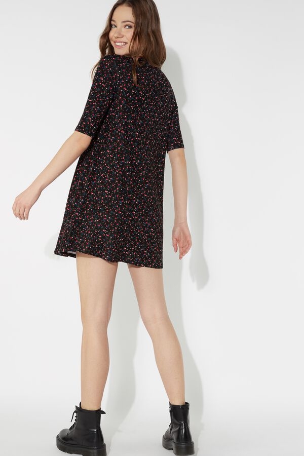 Short Sleeve Smock Dress in Light Jersey