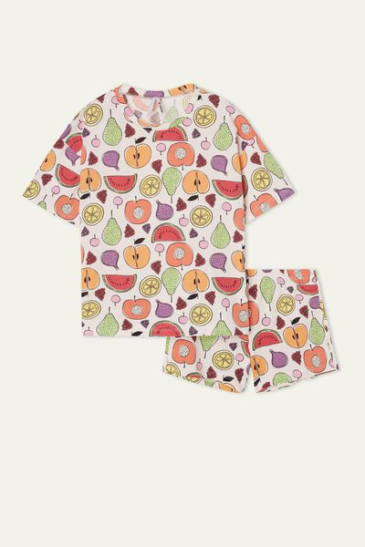 Girls' Fruit Print Short Cotton Pyjamas